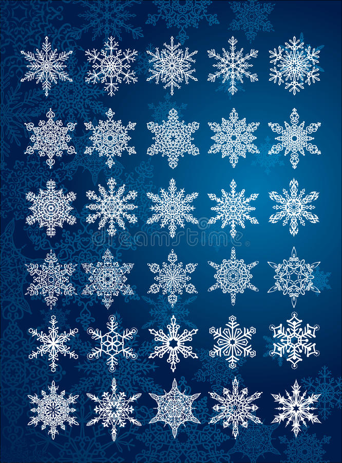 30 flocos de neve originais em tudo/6 jogos diferentes ilustração royalty free