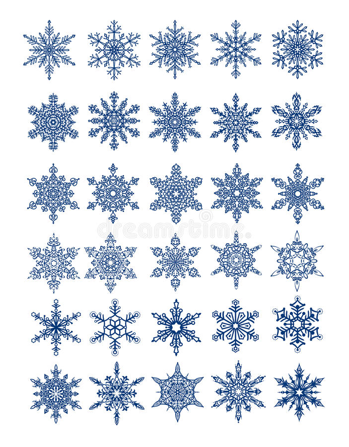 30 flocos de neve originais em tudo/vetor ilustração royalty free