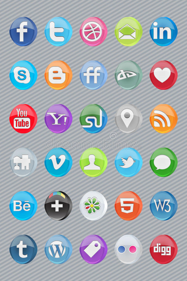 30 glossy oval social icons. Social oval glossy icons for most popular networks and programs vector illustration