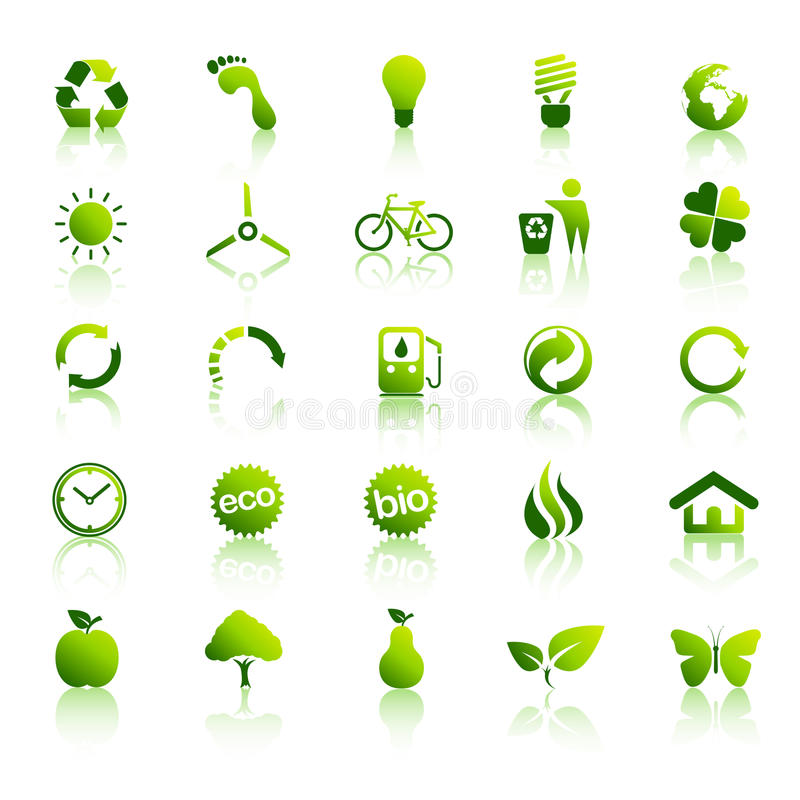 30 icone verdi di Eco hanno impostato 2 royalty illustrazione gratis