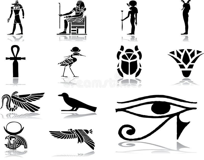 30 inställda egypt symboler stock illustrationer