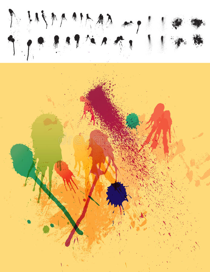 Download 30 Paint Drips & Spatter Elements Stock Vector - Image: 24017227