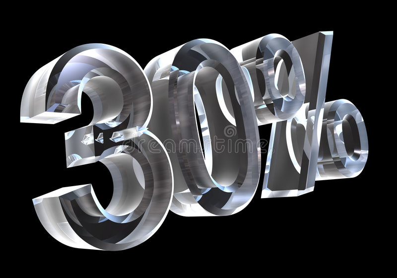 30 per cento in vetro (3D) royalty illustrazione gratis