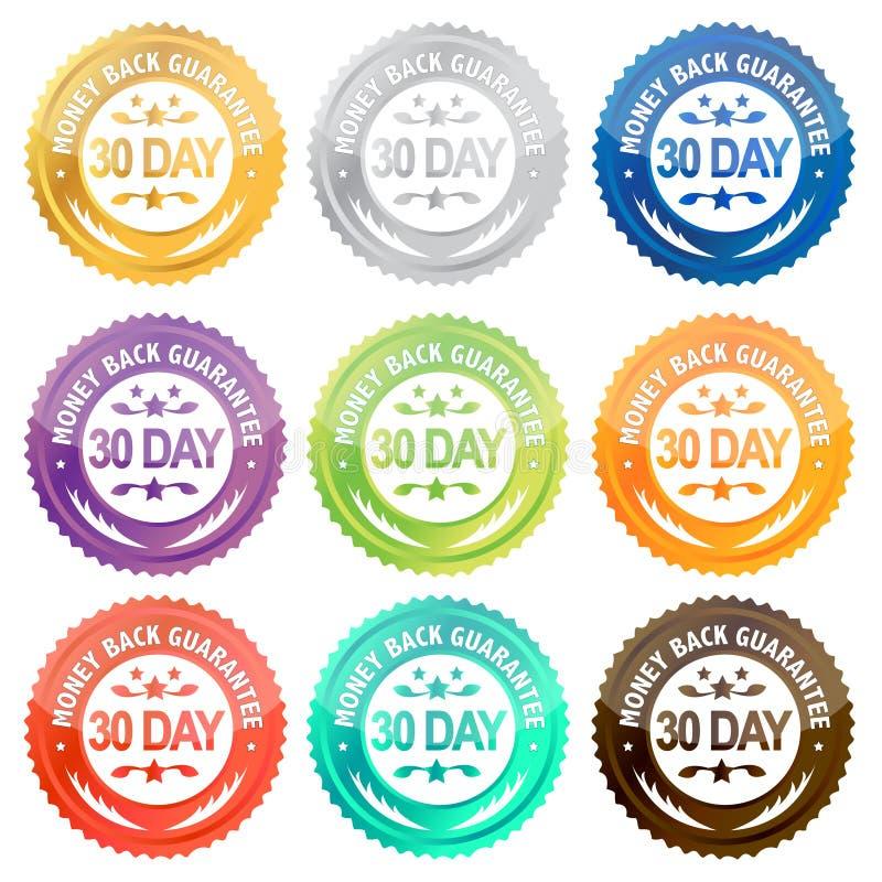 30 plecy dzień gwaranci pieniądze royalty ilustracja