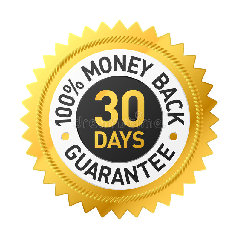 30 Tag?oney Rückseiten-Garantiekennsatz vektor abbildung