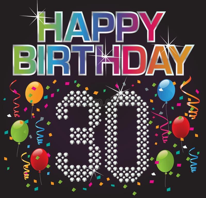 30 urodzinowych szczęśliwi ilustracji