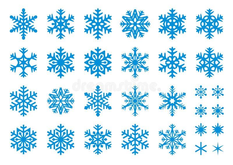 30 vector Geplaatste Sneeuwvlokken royalty-vrije illustratie