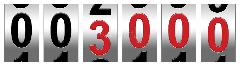 3000 odometer red απεικόνιση αποθεμάτων