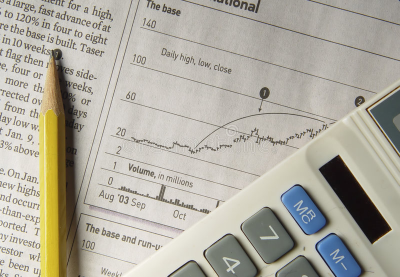 研究股票 库存图片