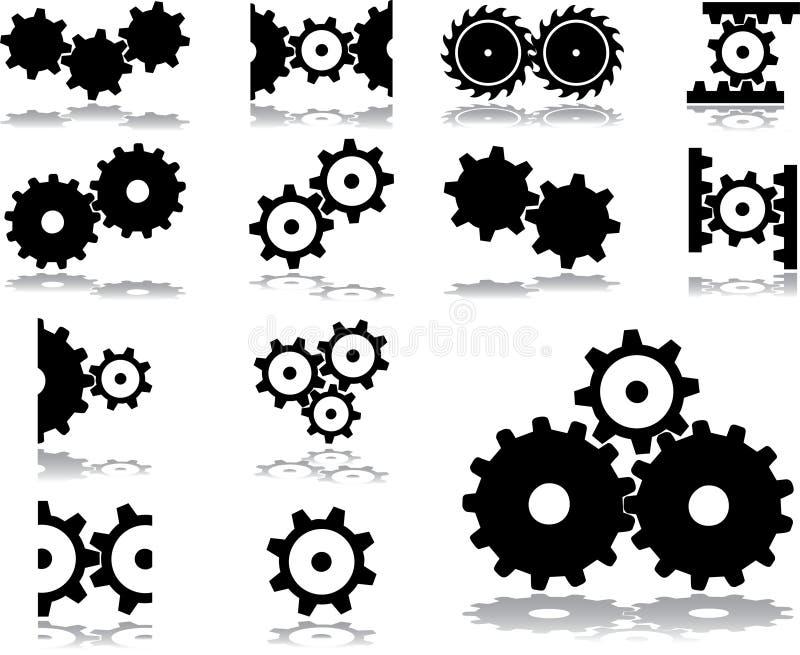 31 inställda kugghjulsymboler vektor illustrationer
