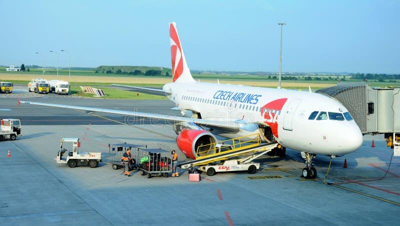 319 Airbus lotnisko Prague zdjęcie royalty free