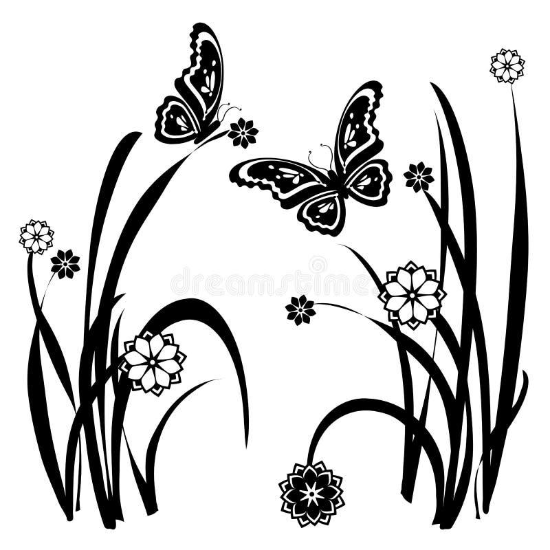 32只蝴蝶花卉装饰物 向量例证
