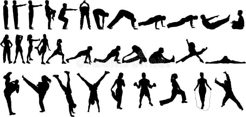 32 σκιαγραφίες άσκησης διανυσματική απεικόνιση