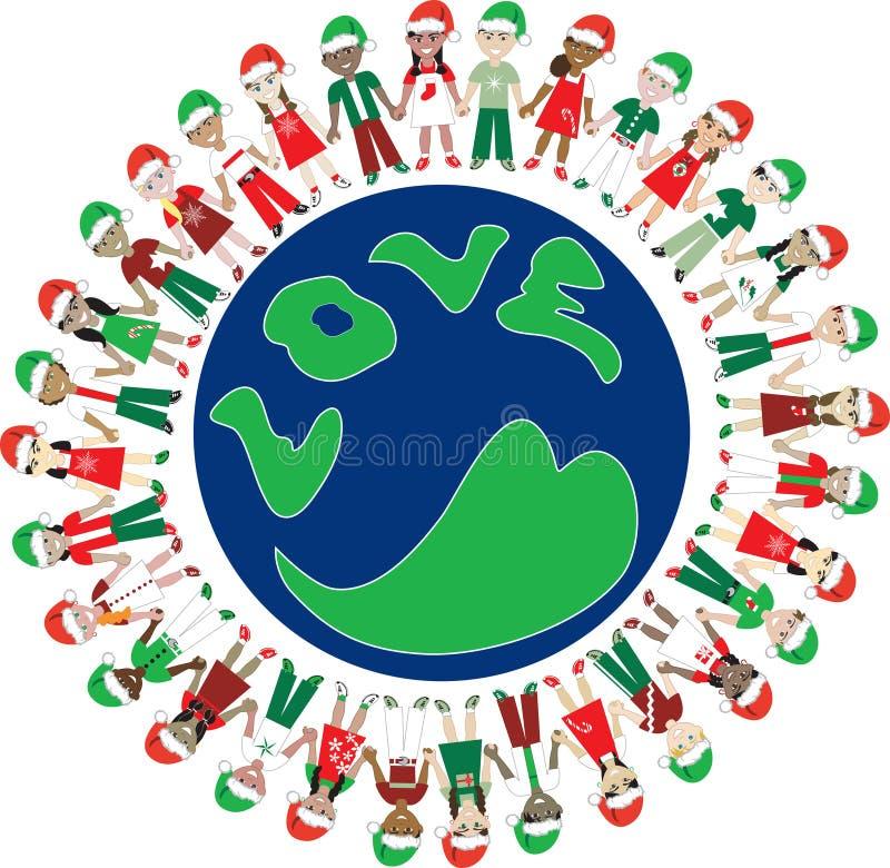 32 de Wereld van Kerstmis van de Liefde van jonge geitjes royalty-vrije illustratie