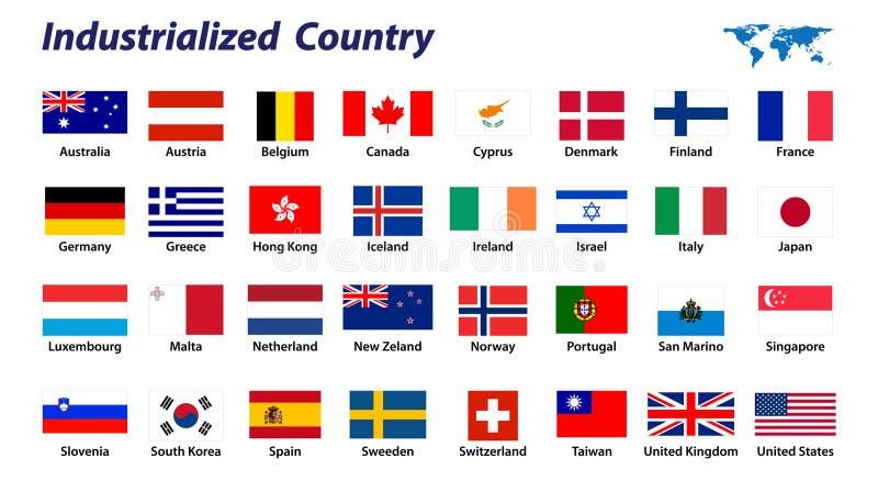 32 flagi uprzemysławiająca kraju ilustracja wektor