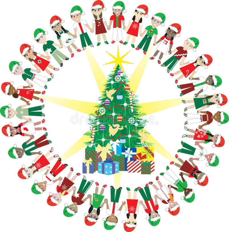32 Wereld 2 van Kerstmis van de Liefde van jonge geitjes stock illustratie