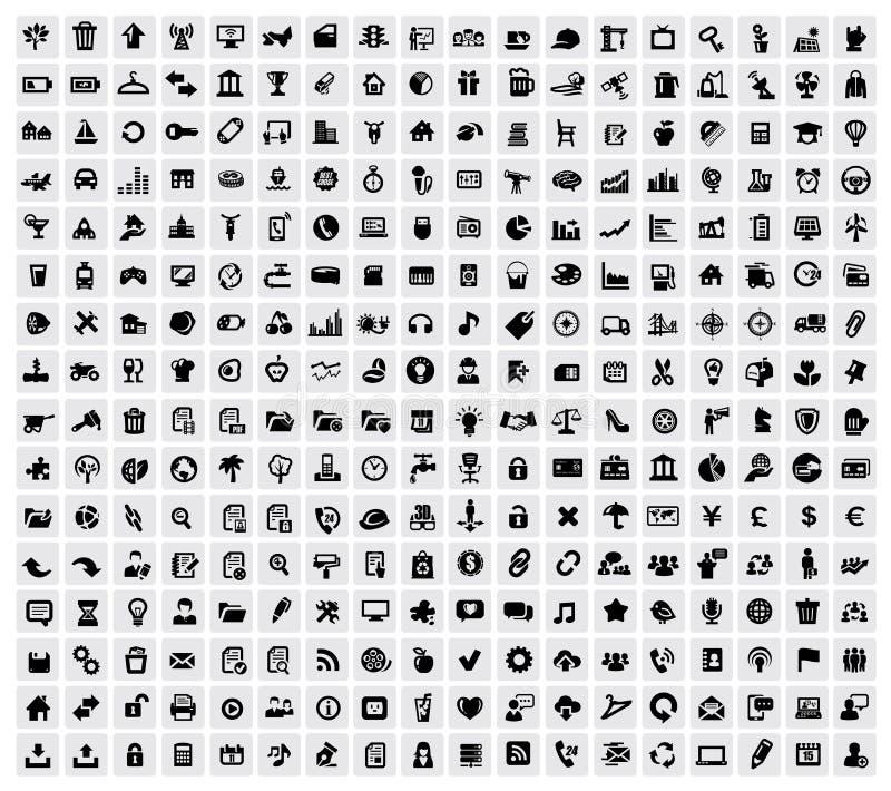 324 ícones da Web ilustração stock