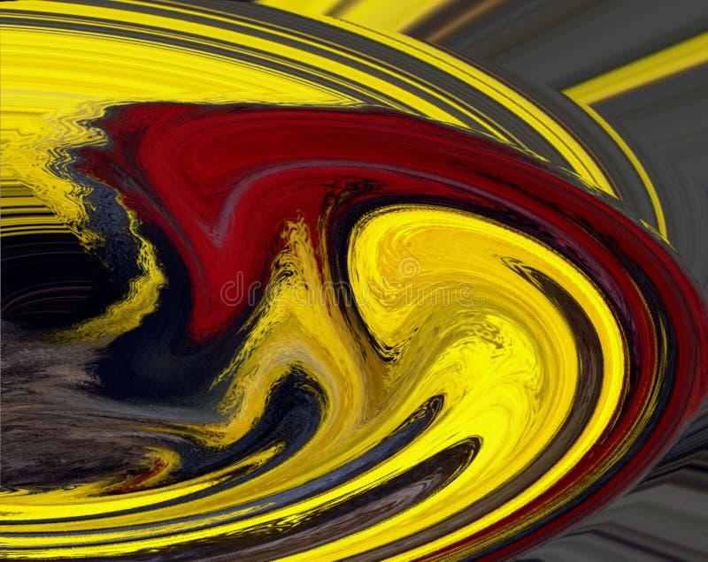 红色漩涡黄色 皇族释放例证