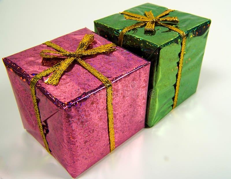 色的giftboxs 免版税库存照片