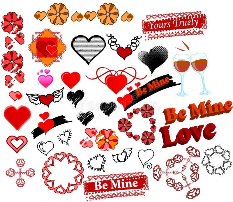 34 symboler för förälskelsesetstämplar royaltyfri illustrationer