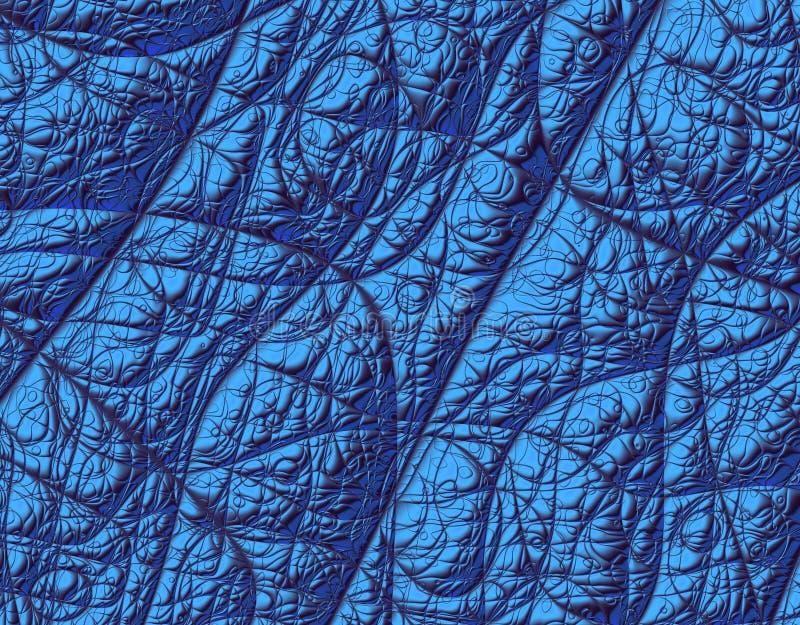 蓝色分数维金属纹理 库存例证