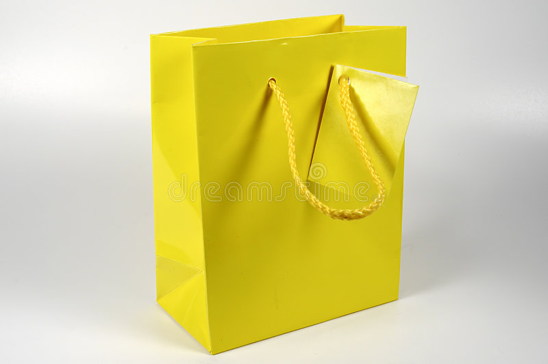 袋子礼品黄色 免版税库存照片