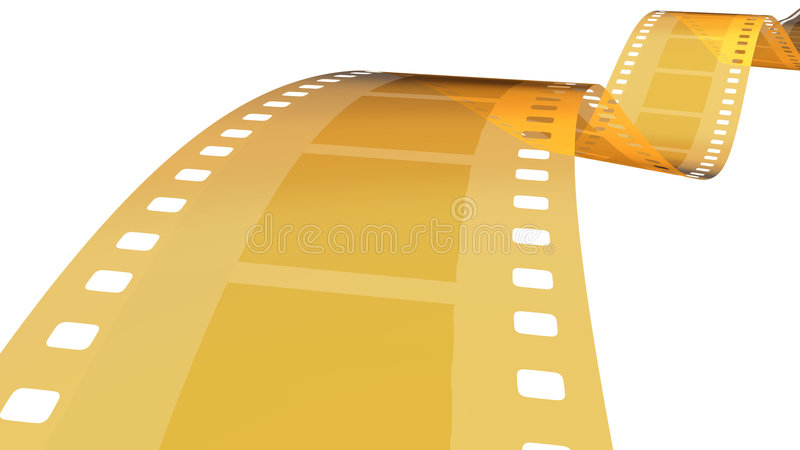35 Mm Gold Film In White 1 Royalty Free Stock Image