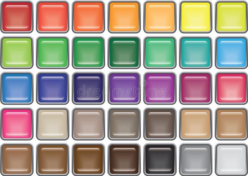 35 teclas de vidro quadradas orlaradas ilustração stock