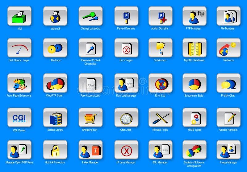 35 web panel icons set stock image