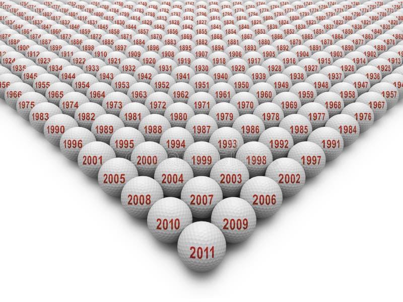 350 Golfbälle für die Geschichte des Golfs lizenzfreie abbildung