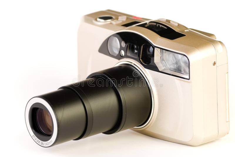 35mm camera. With fully extended lenses on white background royalty free stock images