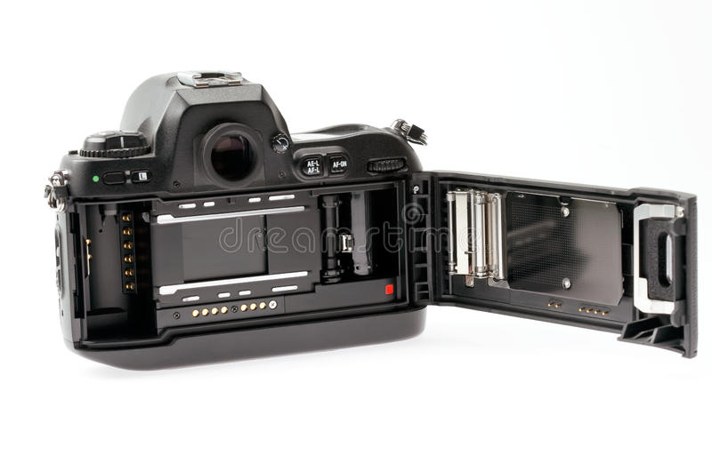 35mm camera with film door open stock photography