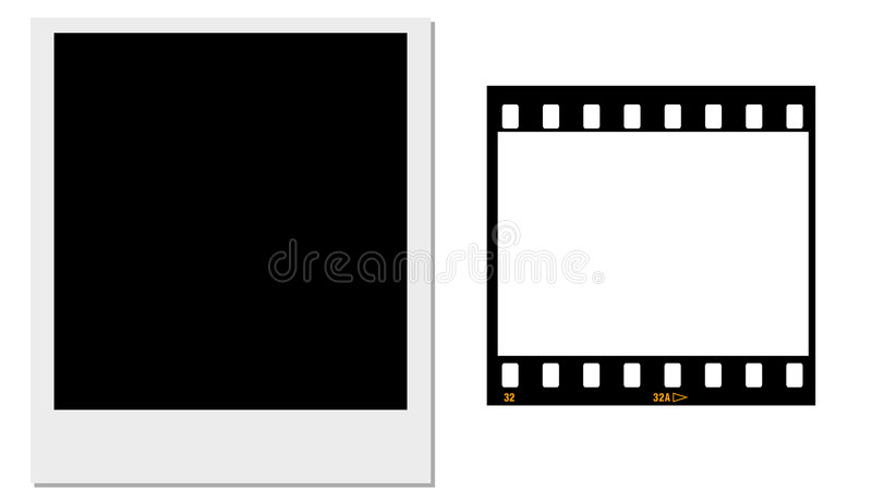35mm film and a polaroid frame. A polaroid with a black centre and a 35mm film negative frame