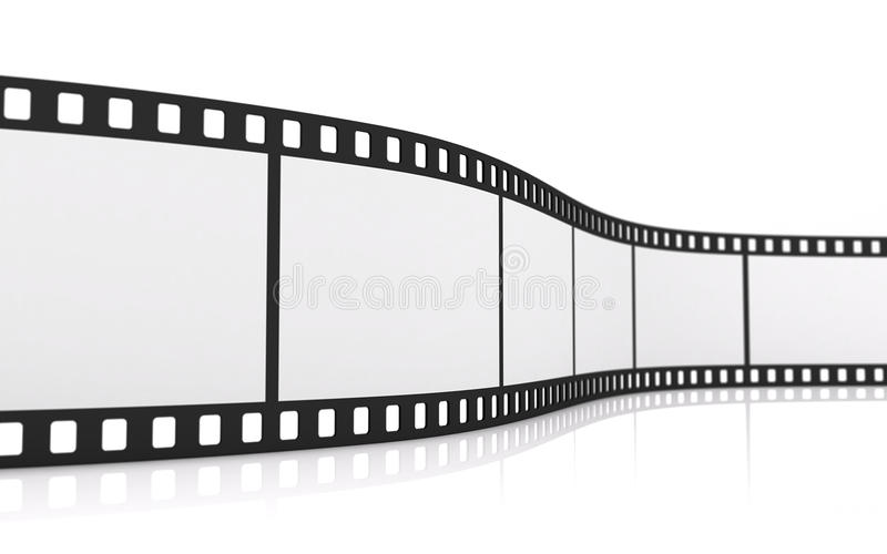 35mm film strip. 3D rendering of a 35mm film strip isolated on white stock illustration