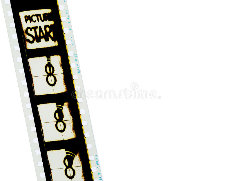 35mm Filmstrip 1. A 35mm countdown filmstrip picture start stock image
