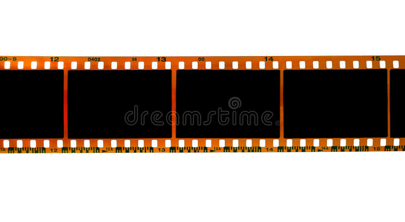 35mm filmstrip. Isolated on white background royalty free stock photo