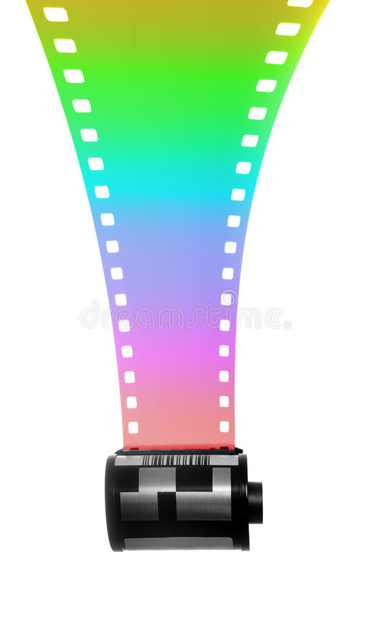 35mm Filmstrip for color. Photography isolated on white background stock images