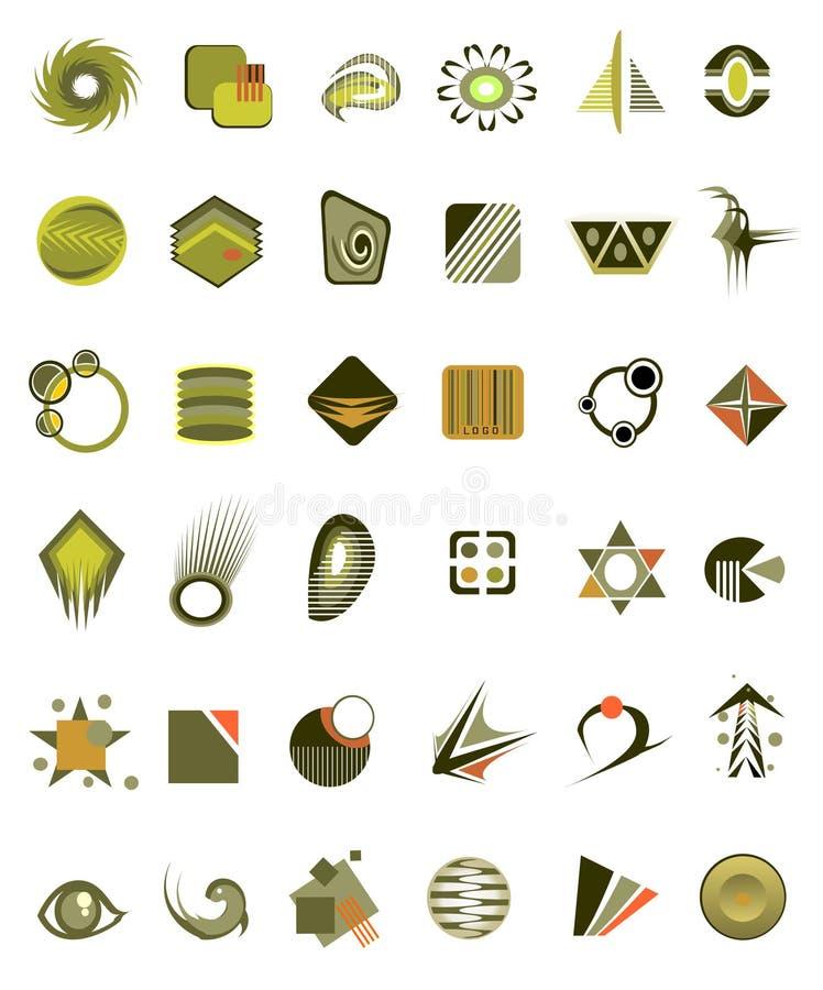 36 установленных икон иллюстрация вектора