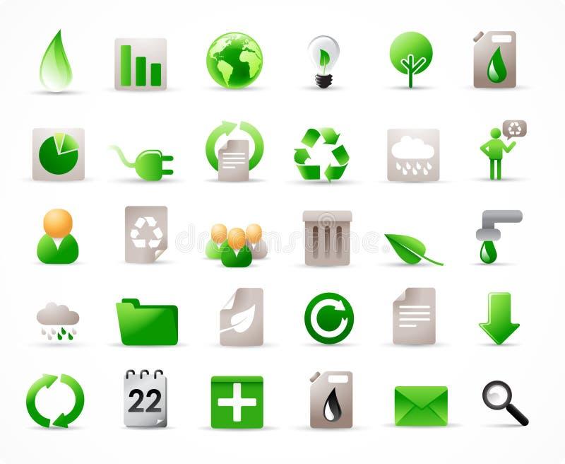 36 geplaatste ecologiepictogrammen stock illustratie