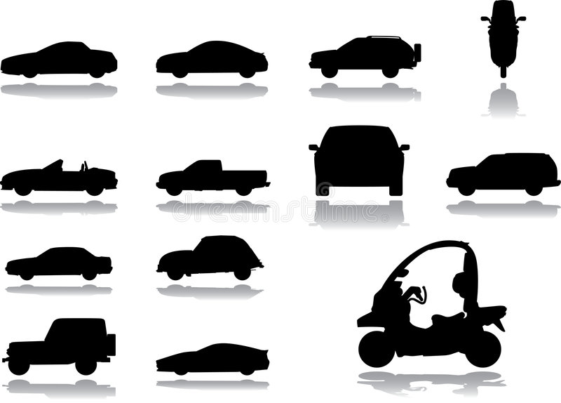36 inställda bilsymboler stock illustrationer