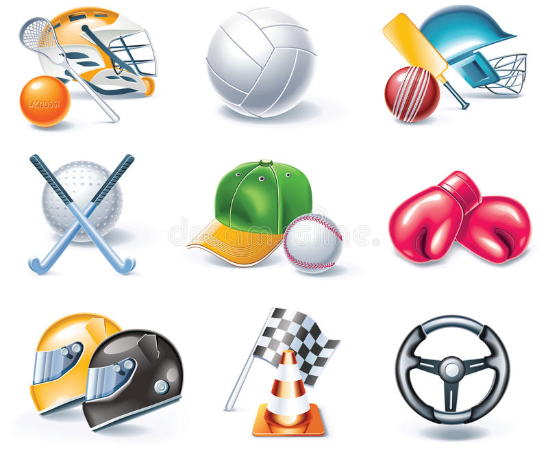 36 kreskówek ikony część ustalony sporta stylu wektor ilustracja wektor