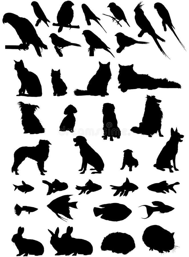 36 vectorhuisdierensilhouetten royalty-vrije stock fotografie
