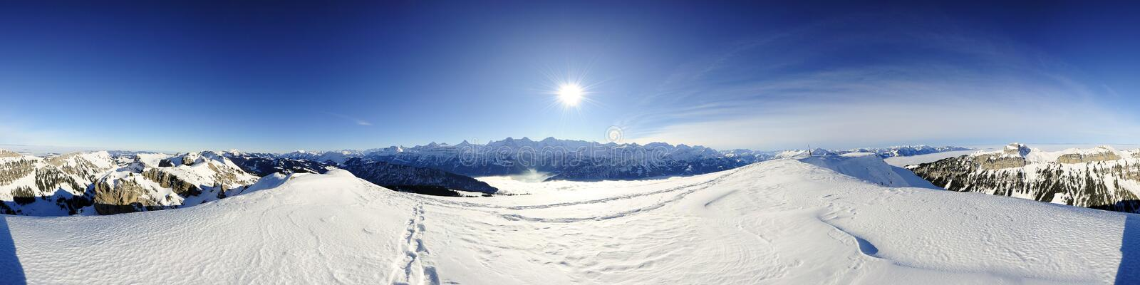 360 degree panorama of swiss mountains royalty free stock photography