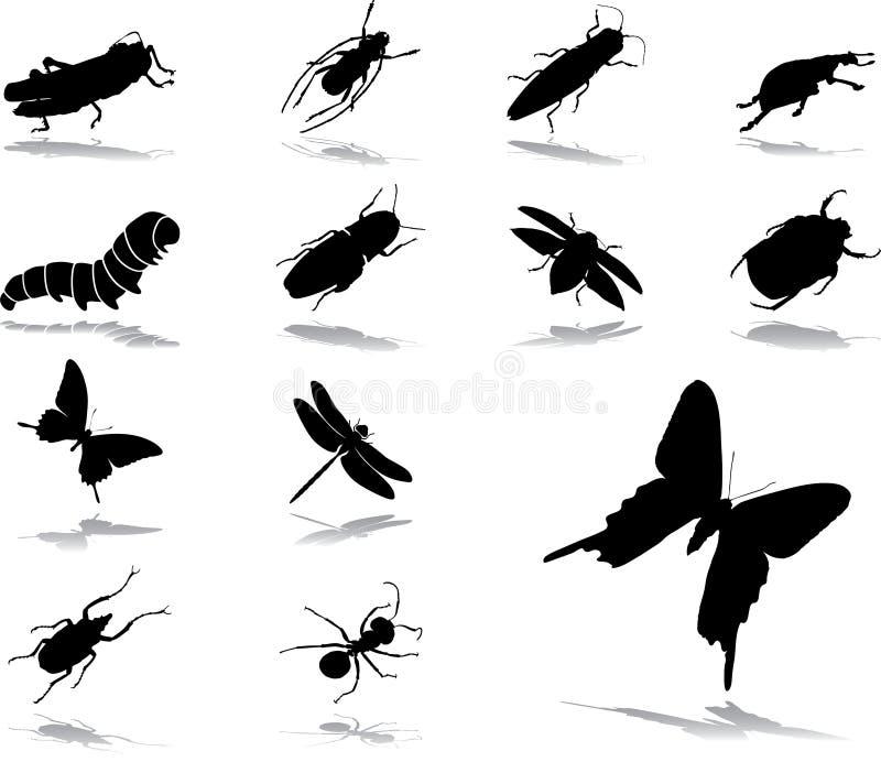 37 установленных насекомых икон иллюстрация штока