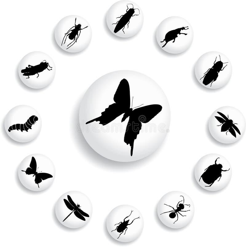 37 b guzików insektów ustawiających ilustracja wektor
