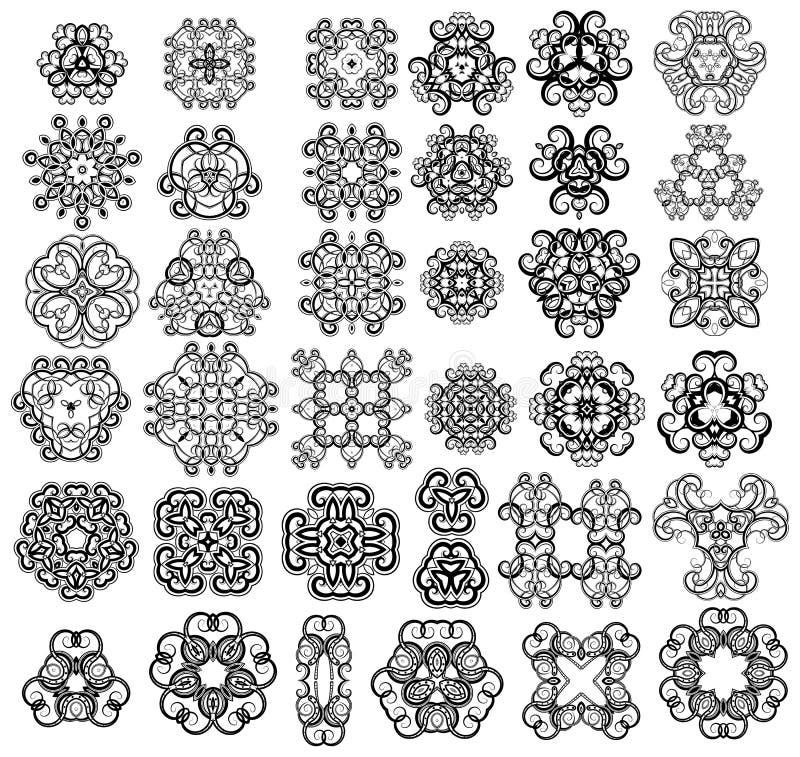 37 designelement royaltyfri illustrationer