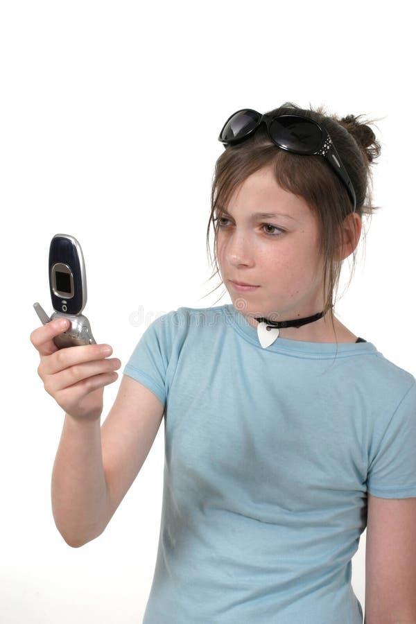 3a έφηβος κοριτσιών κινητών τ&et στοκ φωτογραφίες