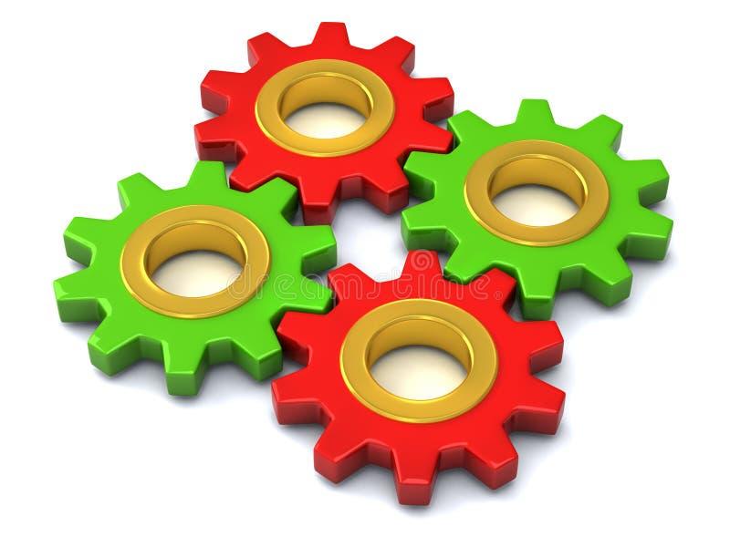 3d一起不同的齿轮 库存例证