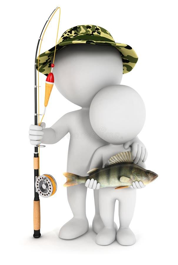 3d与他的儿子的空白人捕鱼 向量例证
