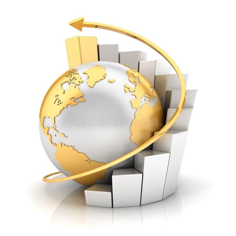 3d与条形图的企业地球 皇族释放例证